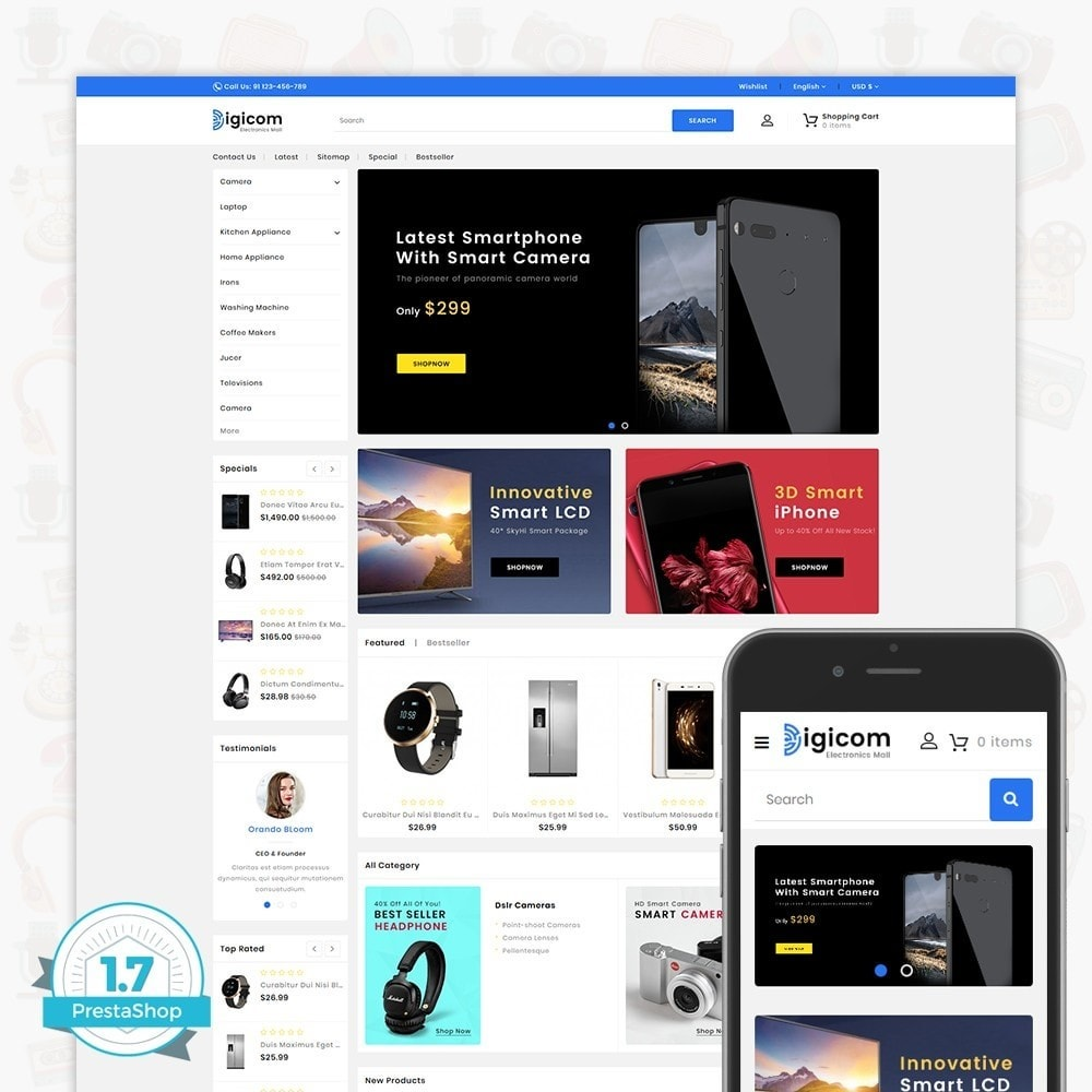 theme - Electrónica e High Tech - DIGICOM- The Large Ecommerce Store - 1