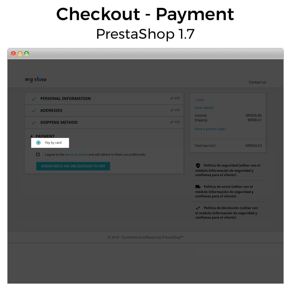 module - Płatność kartą lub Płatność Wallet - BBVA Bancomer Mexico - Payment with card (Virtual POS) - 2