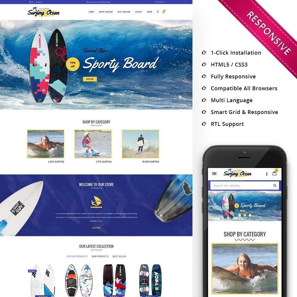 theme - Спорт и Путешествия - Surfing Ocean - The Sport Store - 1