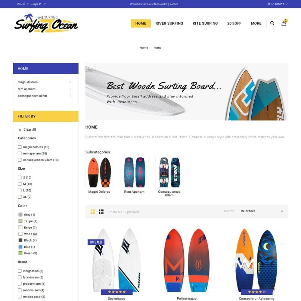 theme - Спорт и Путешествия - Surfing Ocean - The Sport Store - 3
