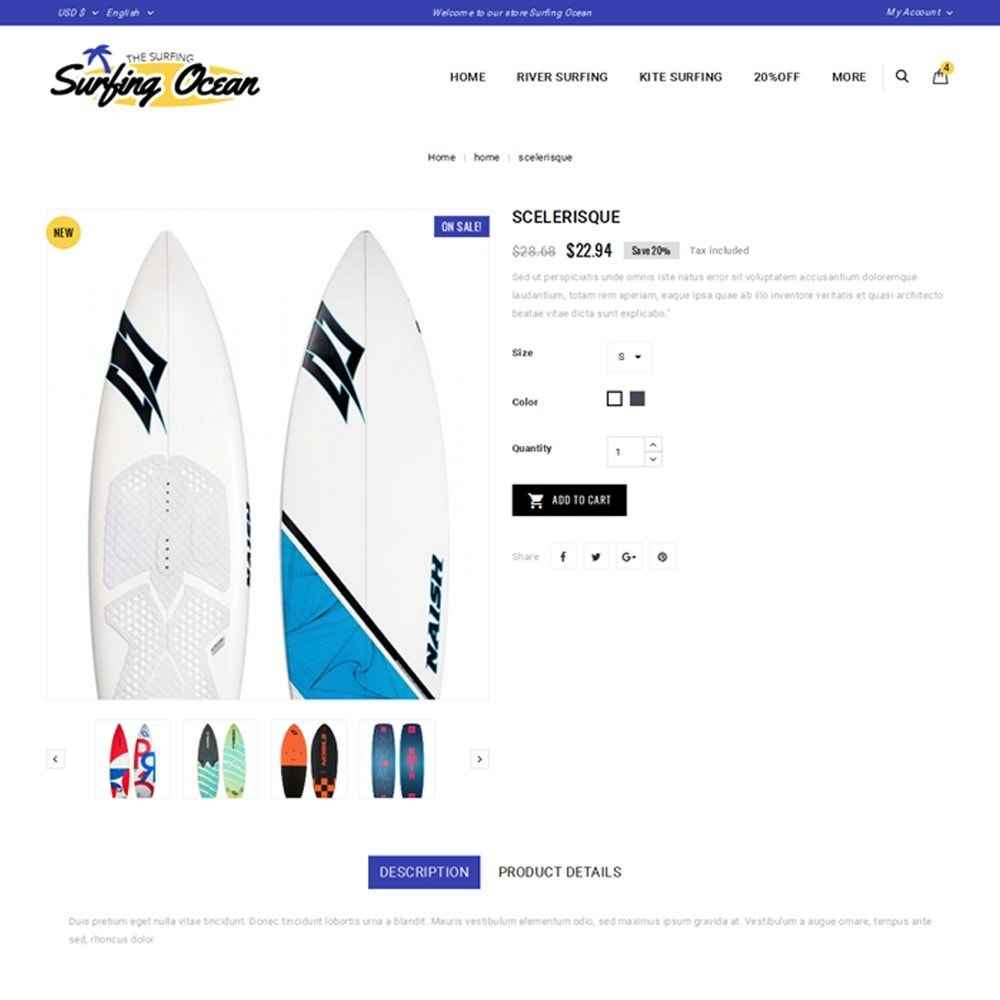 theme - Спорт и Путешествия - Surfing Ocean - The Sport Store - 5
