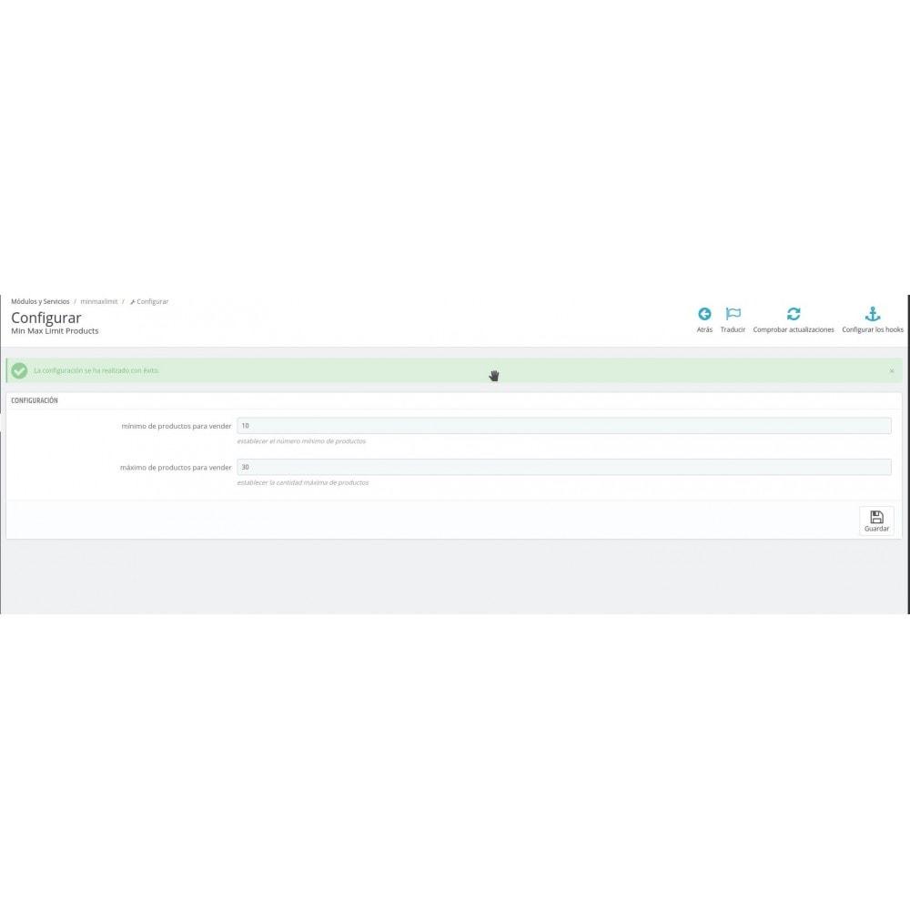 module - Gestión de Pedidos - Cantidad máxima y mínima de productos por pedido - 2