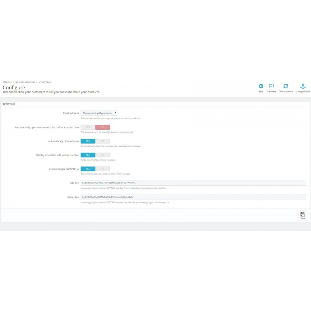 module - Formulaires de Contact & Sondages - Ask about product - contact form - 2