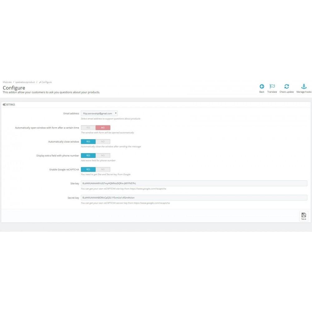 module - Formulário de contato & Pesquisas - Ask about product - contact form - 2