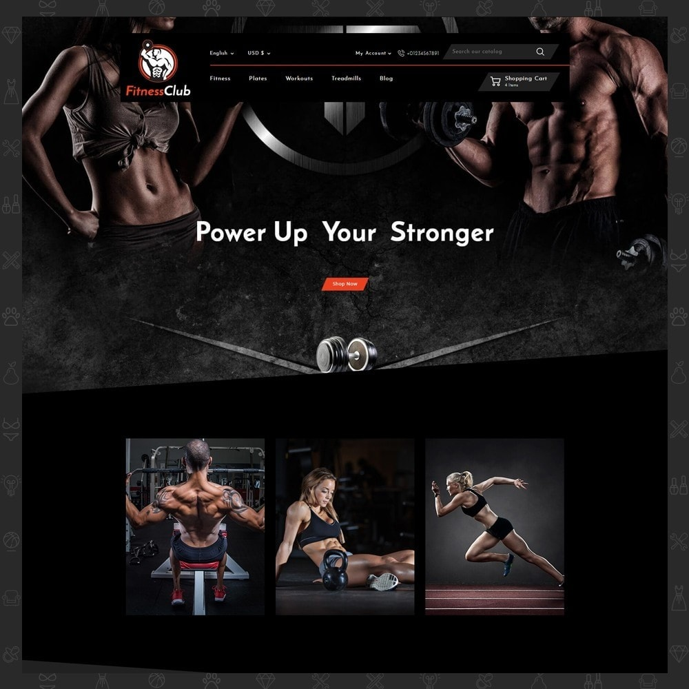 theme - Sports, Activities & Travel - Fitness Club Online Store - 2