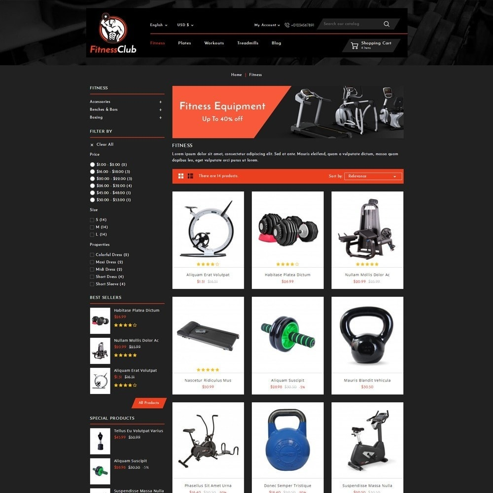 theme - Sports, Activities & Travel - Fitness Club Online Store - 3