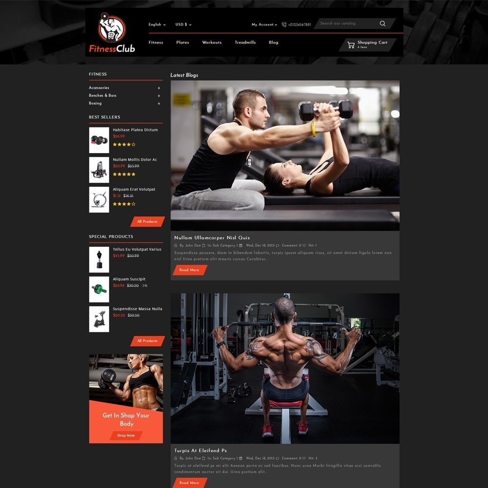theme - Sports, Activities & Travel - Fitness Club Online Store - 6