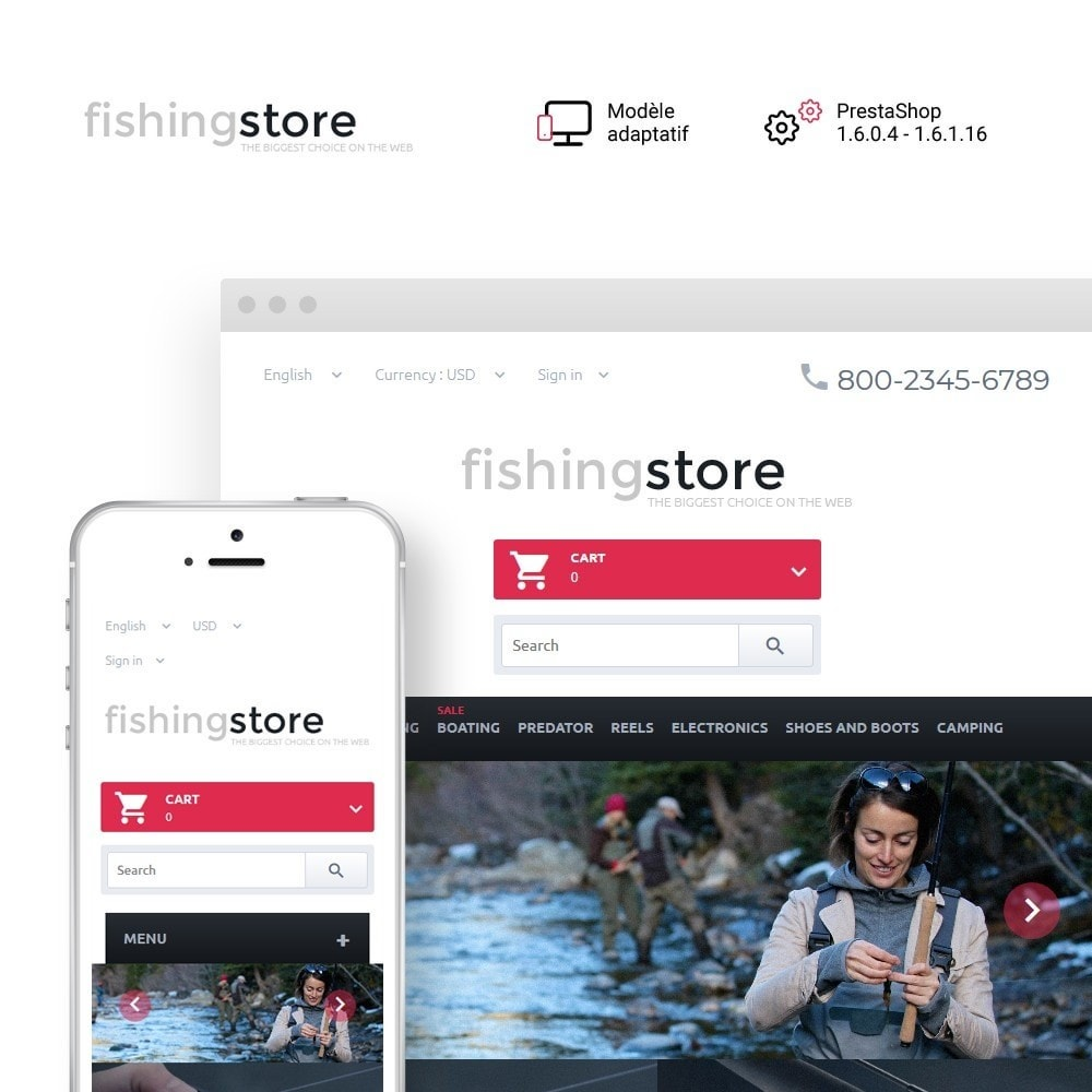 theme - Sport, Loisirs & Voyage - Fishing Store - The Biggest Choice On The Web - 1
