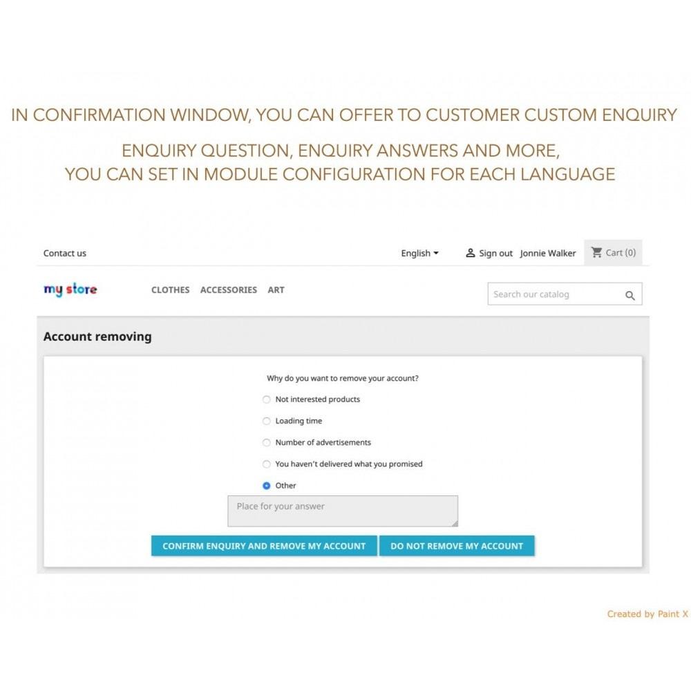 module - Rechtssicherheit - GDPR Löschen vom Benutzerkonto mit erweiterten Optionen - 3
