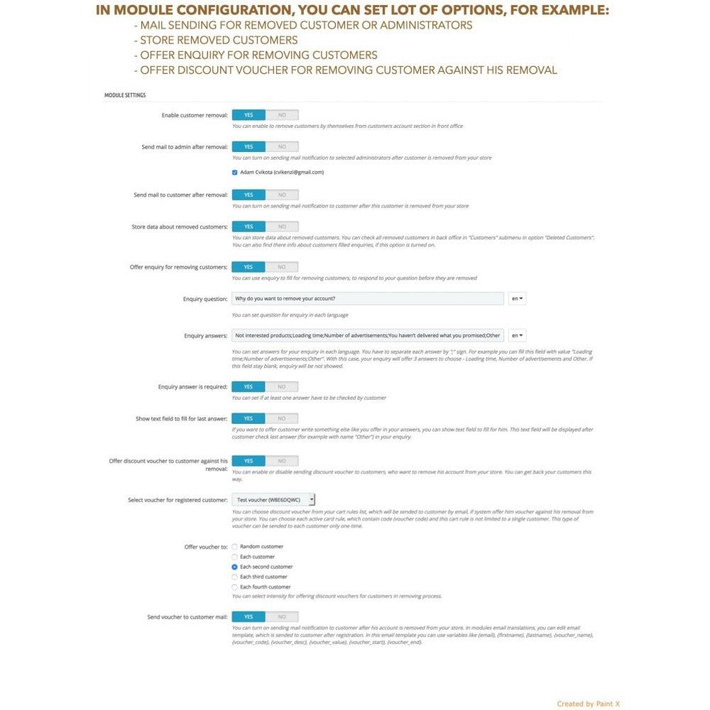 module - Rechtssicherheit - GDPR Löschen vom Benutzerkonto mit erweiterten Optionen - 6