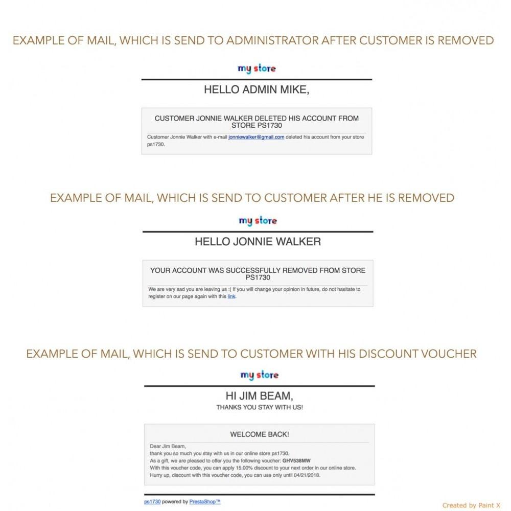 module - Rechtssicherheit - GDPR Löschen vom Benutzerkonto mit erweiterten Optionen - 7