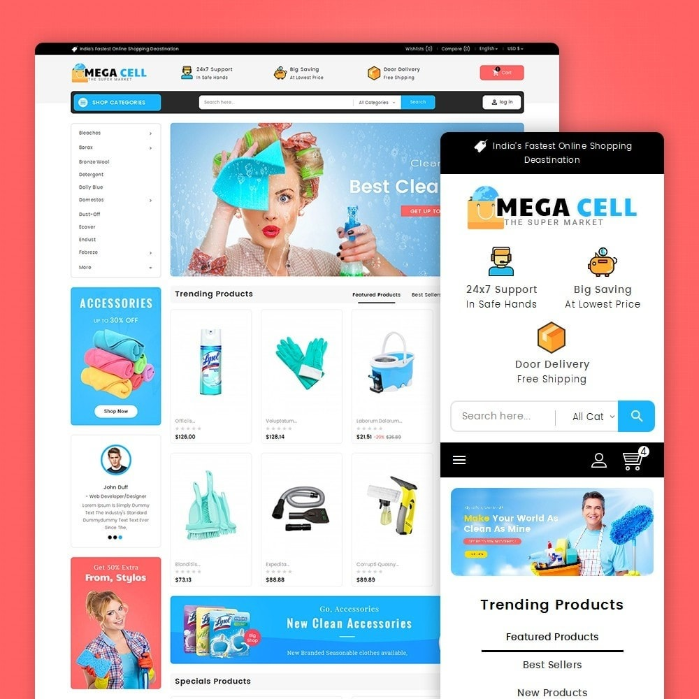 theme - Дом и сад - Mega Cell Cleaner Market - 1