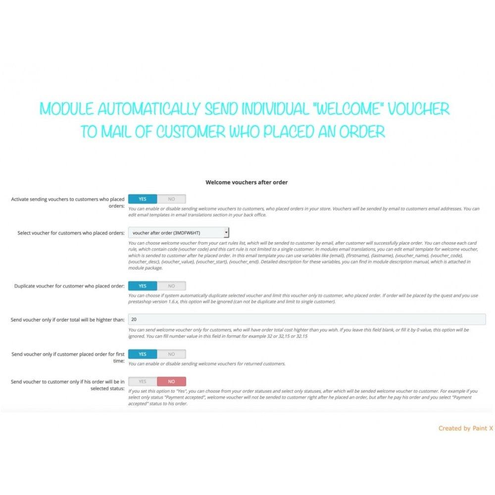 module - Promotions & Cadeaux - Voucher automatique après l'inscription ou la commande - 2