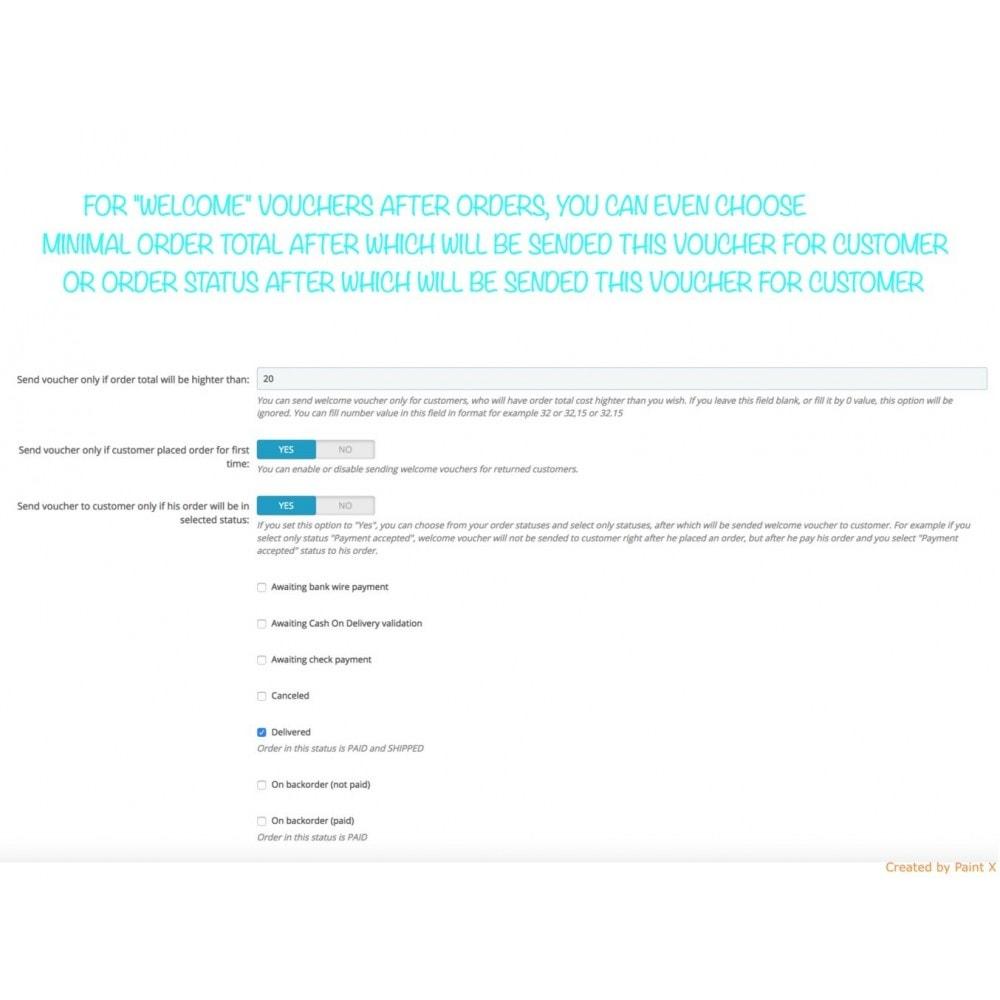 module - Promotions & Cadeaux - Voucher automatique après l'inscription ou la commande - 6
