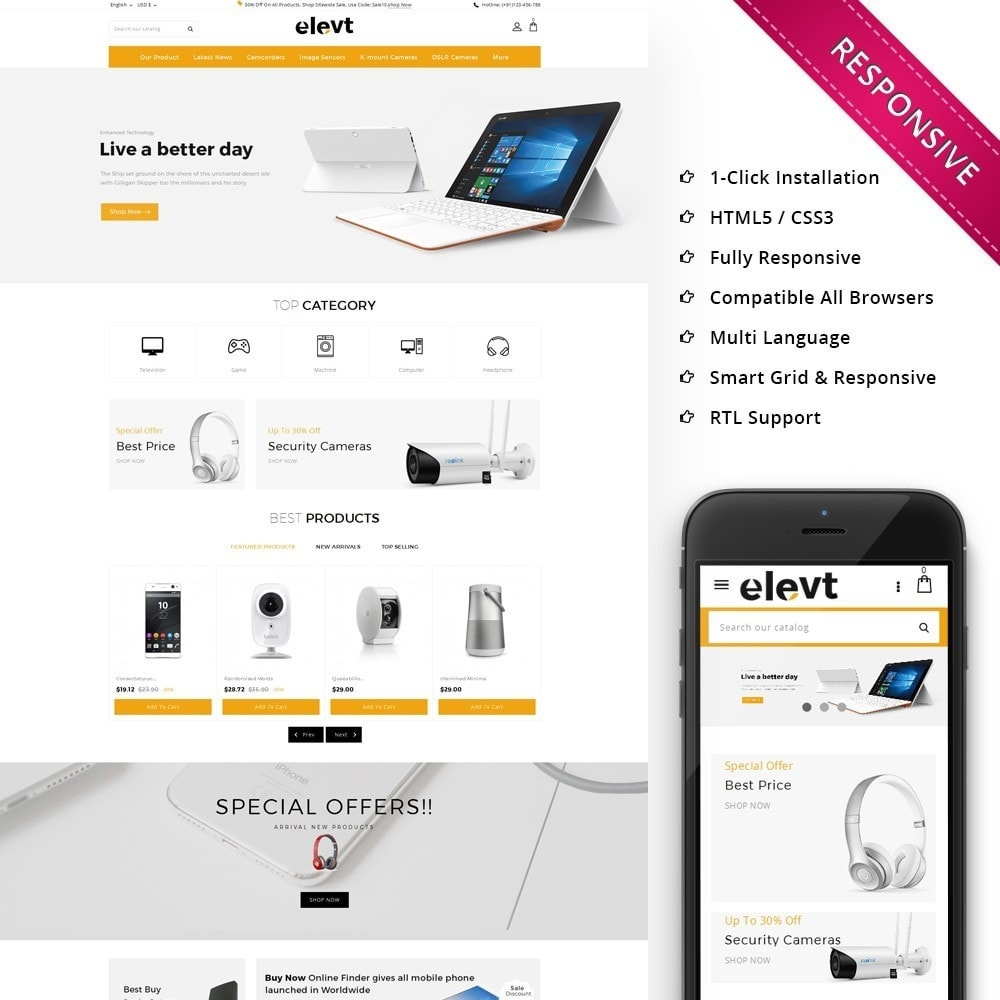 theme - Electronics & Computers - Elevt - The Electronic Store - 1
