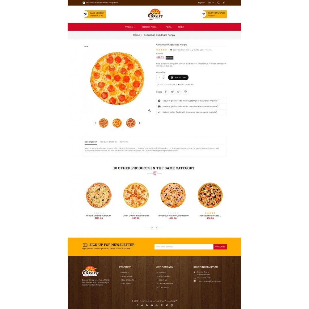 theme - Продовольствие и рестораны - Cheesy Pizza - Fast Food - 5