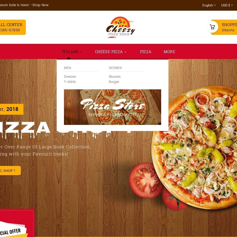 theme - Продовольствие и рестораны - Cheesy Pizza - Fast Food - 8