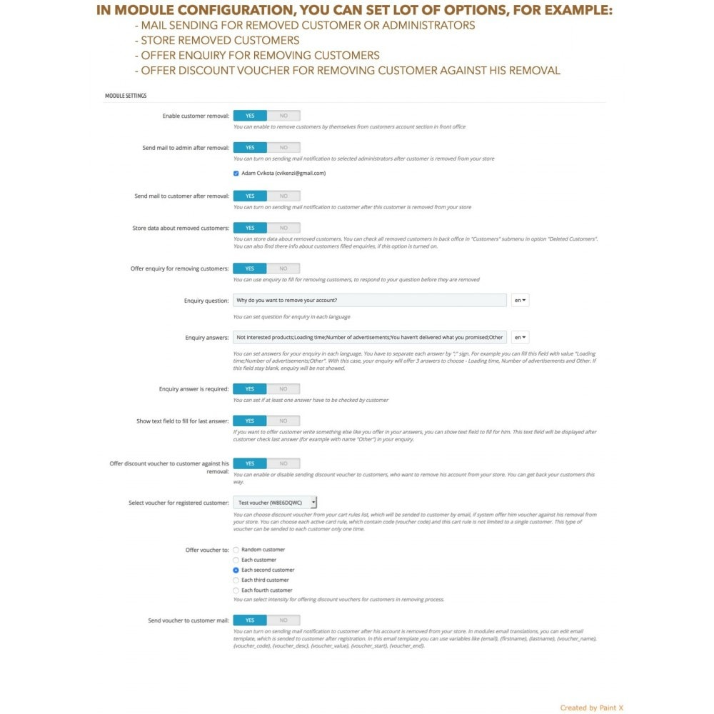 module - Wzmianki prawne - GDPR Usuwanie konta klienta z zaawansowanymi opcjami - 6