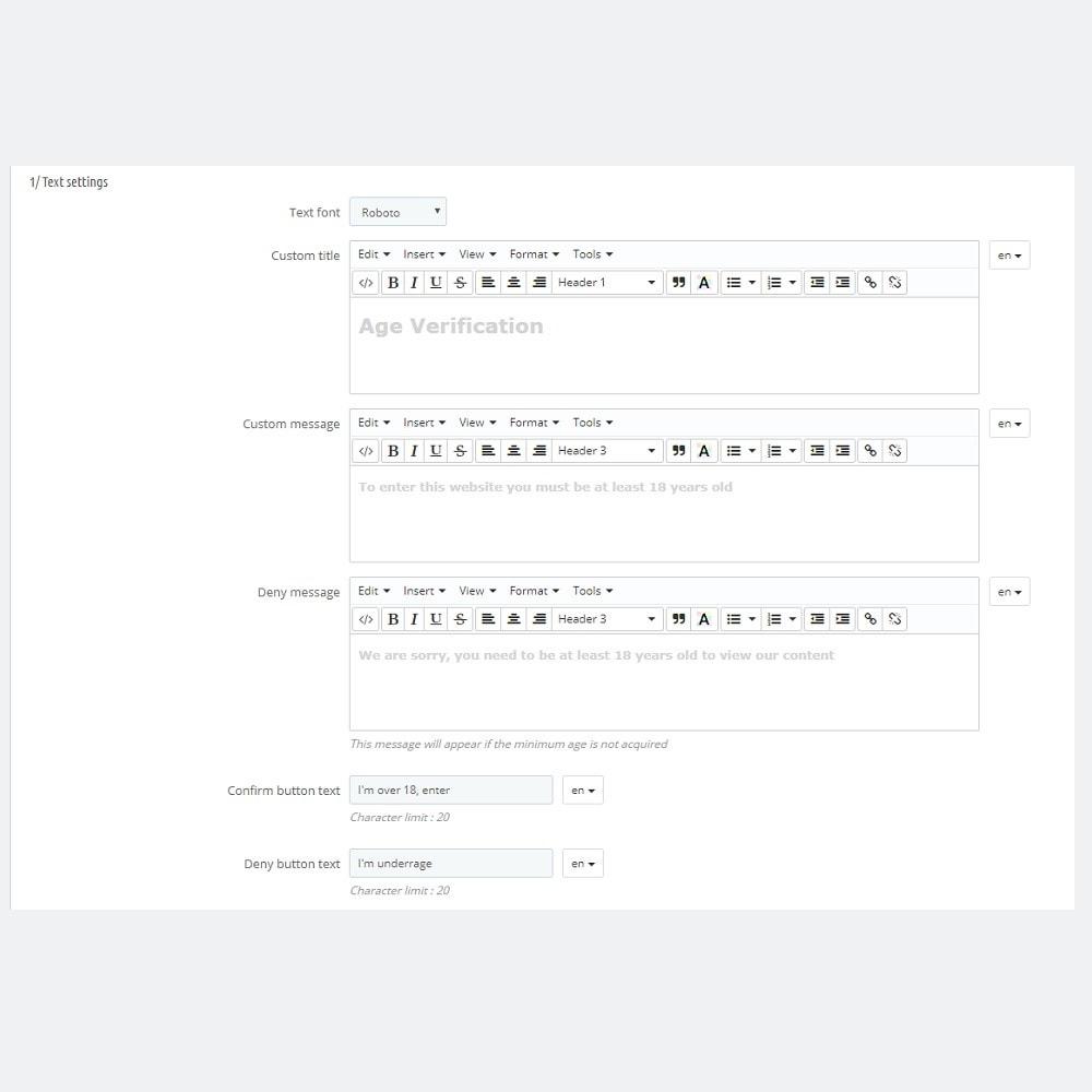 module - Seguridad y Accesos - Ventana emergente de verificación de la edad - 5