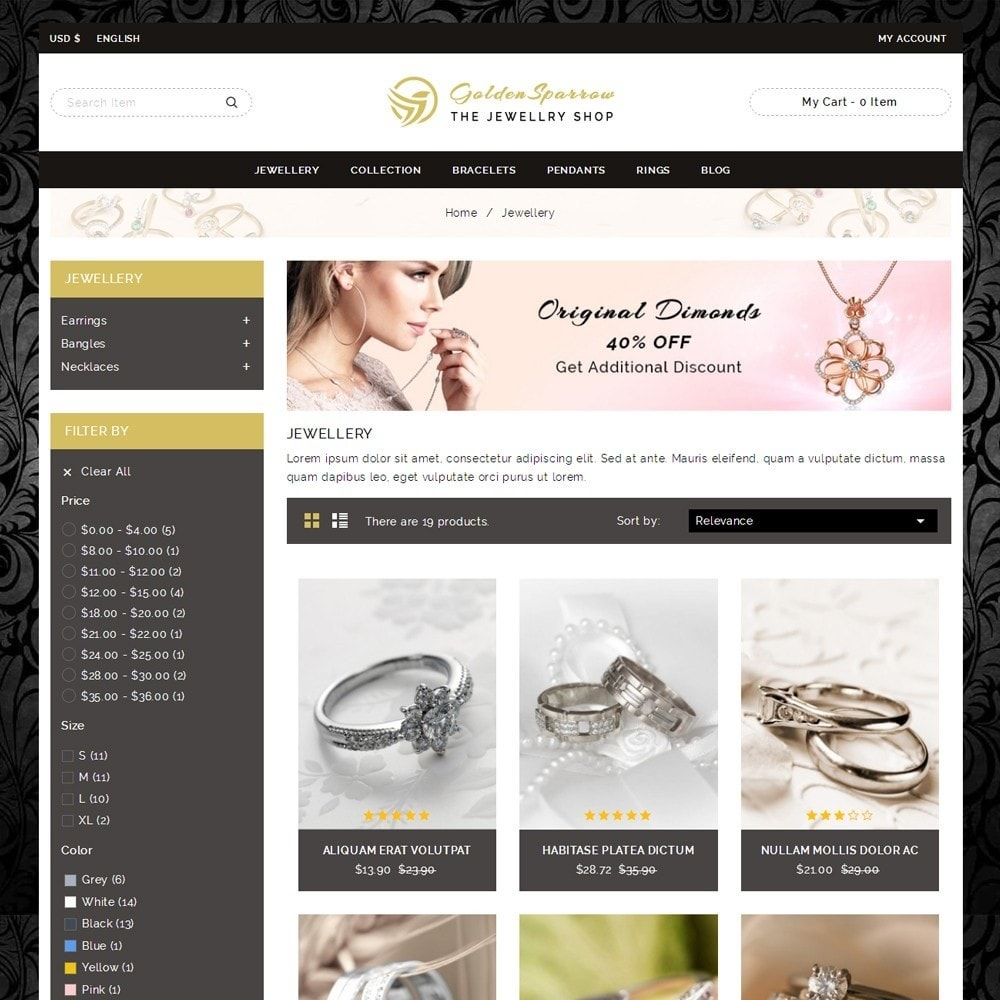 theme - Biżuteria & Akcesoria - Golden Sparrow - Jewelry Shop - 3