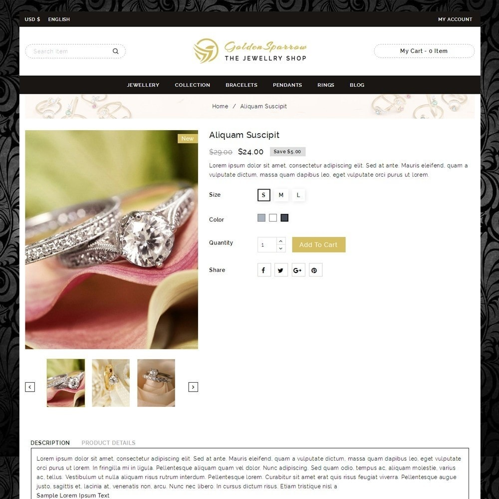 theme - Biżuteria & Akcesoria - Golden Sparrow - Jewelry Shop - 4