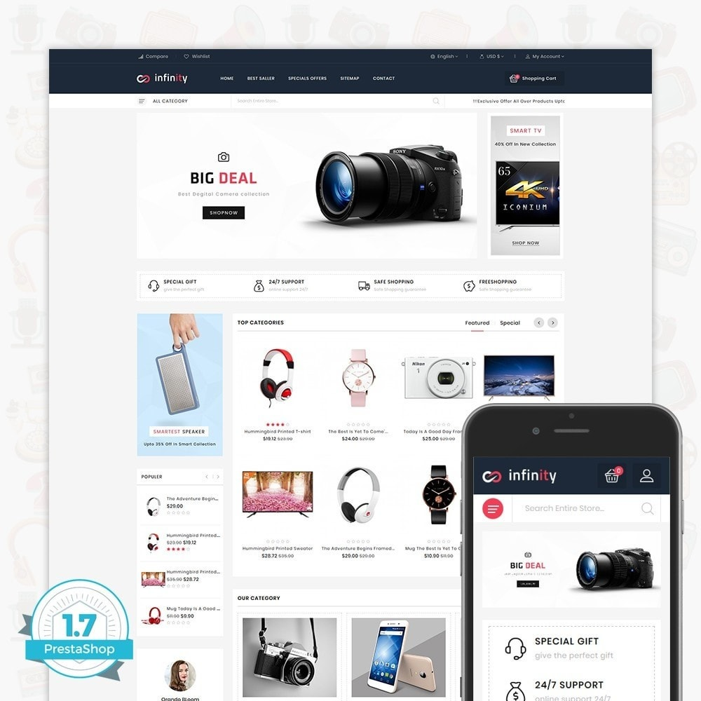 theme - Электроника и компьютеры - Infinity - The Mega Ecommerce Store - 1