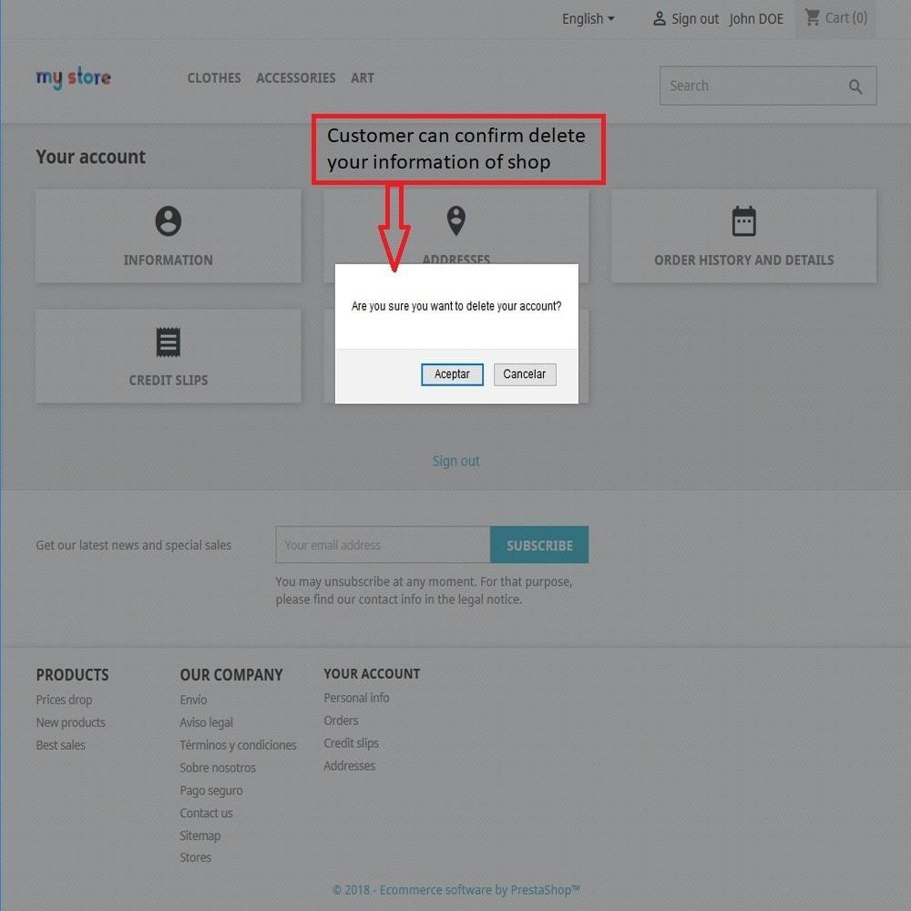 module - Gestión de clientes - Eliminar cuenta de cliente - 3