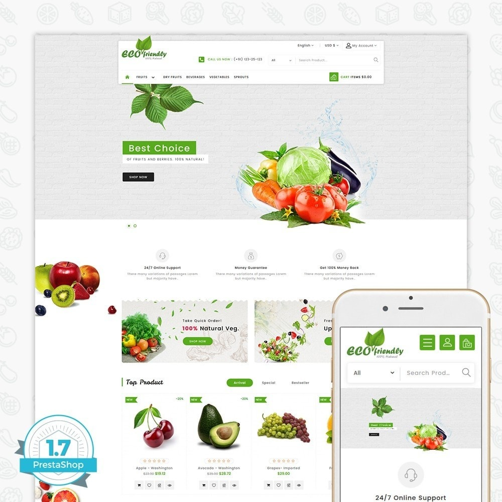 theme - Saúde & Beleza - Eco  - Friendly Organic Food Template - 1