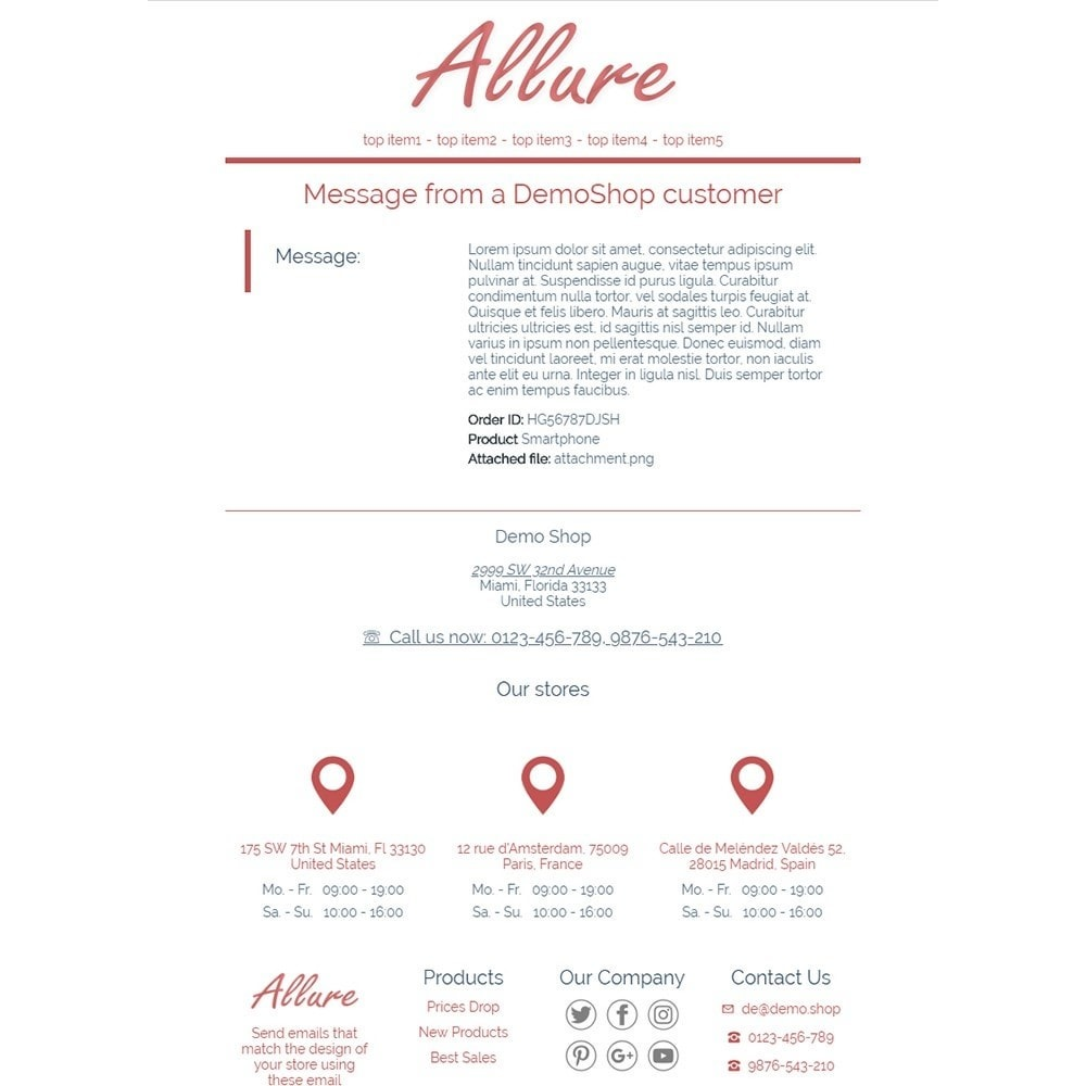 email - Szablony e-mail PrestaShop - Allure - Email templates - 3