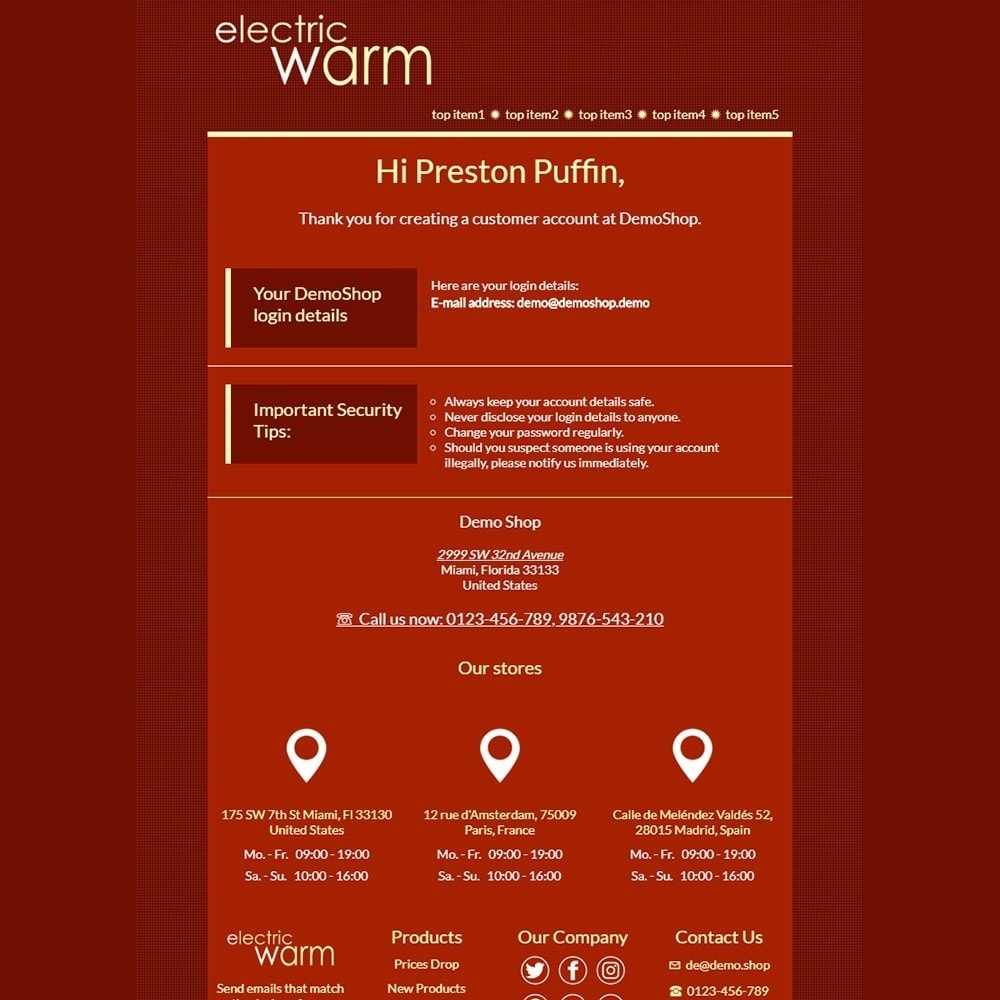email - Email templates PrestaShop - Electric Warm - Email templates - 2