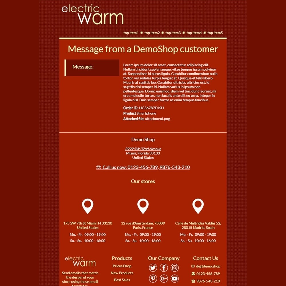 email - Email templates PrestaShop - Electric Warm - Email templates - 3