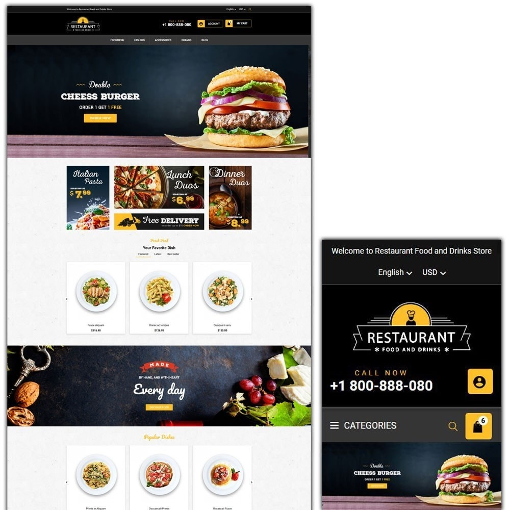 theme - Продовольствие и рестораны - Restaurant Food And Drinks Store - 1