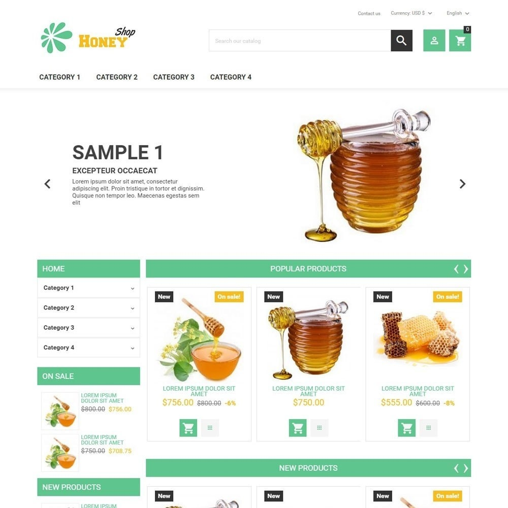 theme - Food & Restaurant - HoneyShop - 1