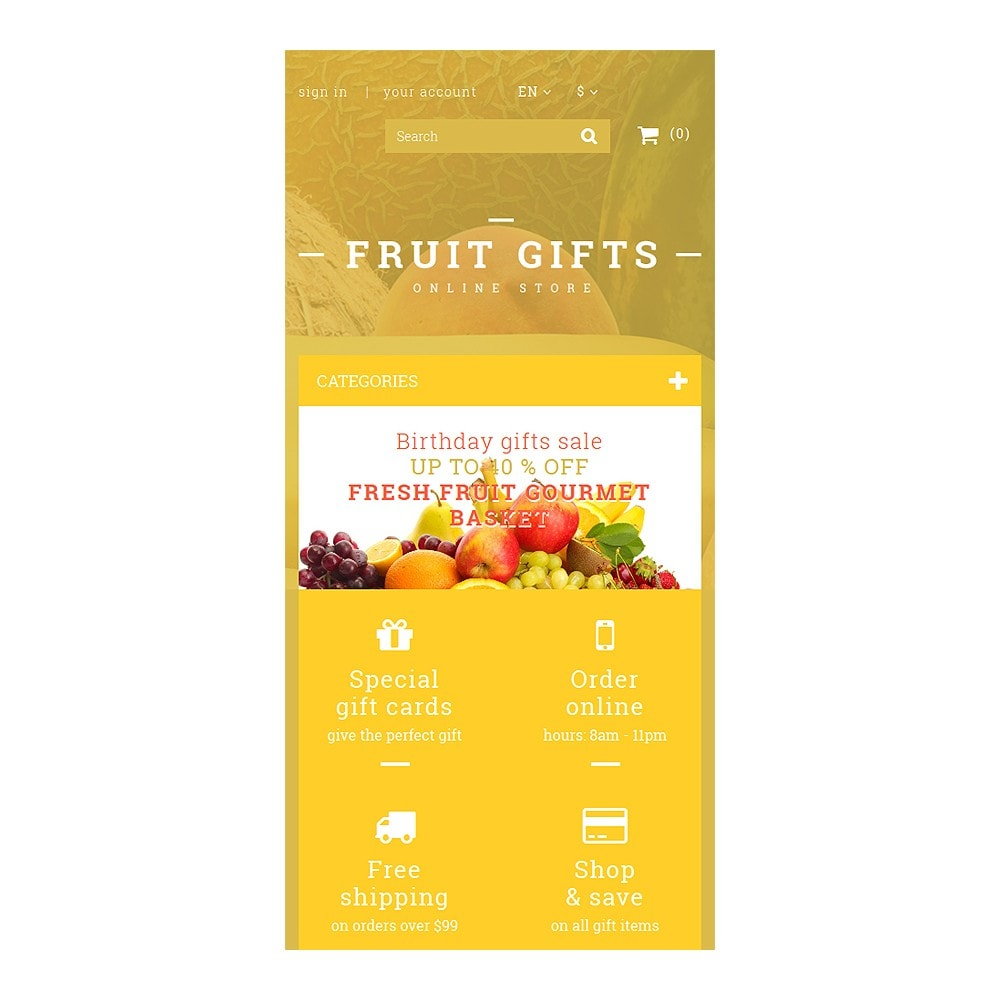 theme - Cadeaux, Fleurs et Fêtes - Fresh Fruit Gift Basket - 8