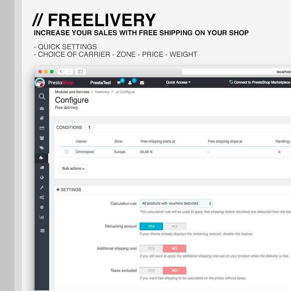 module - Verzendkosten - Freelivery : Free delivery - 1