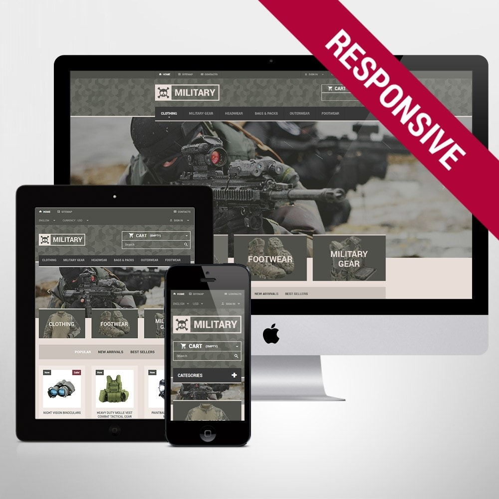 theme - PrestaShop Templates - Military Gear Store - 1