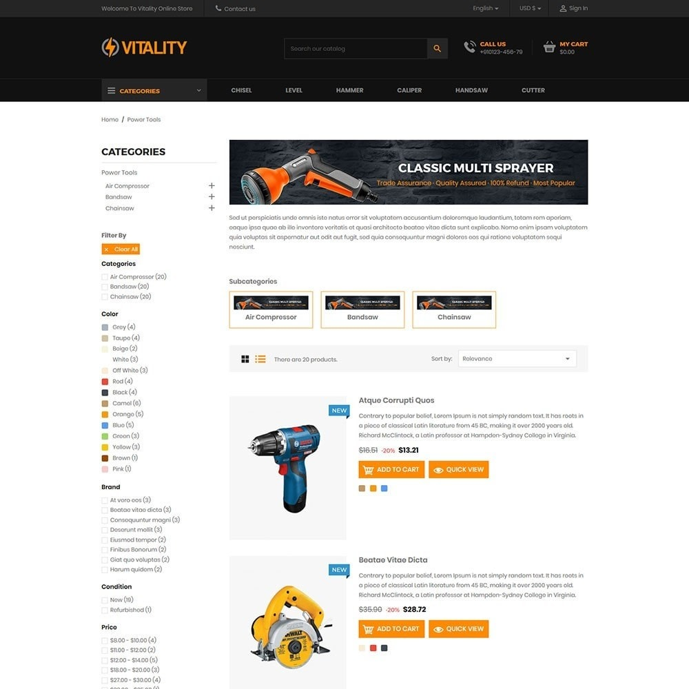 theme - Automotive & Cars - Vitality - Tools Online Store - 4