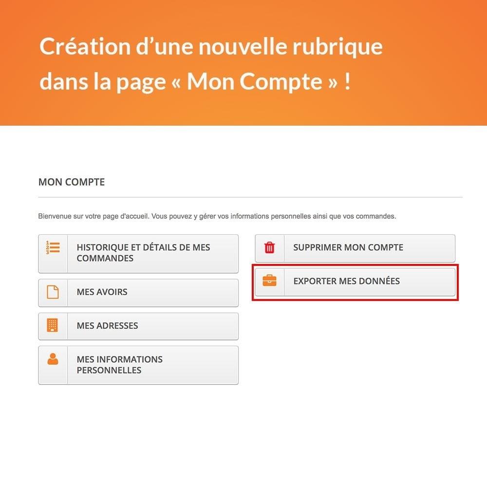 module - Législation - RGPD - Récupération des données clients - 2