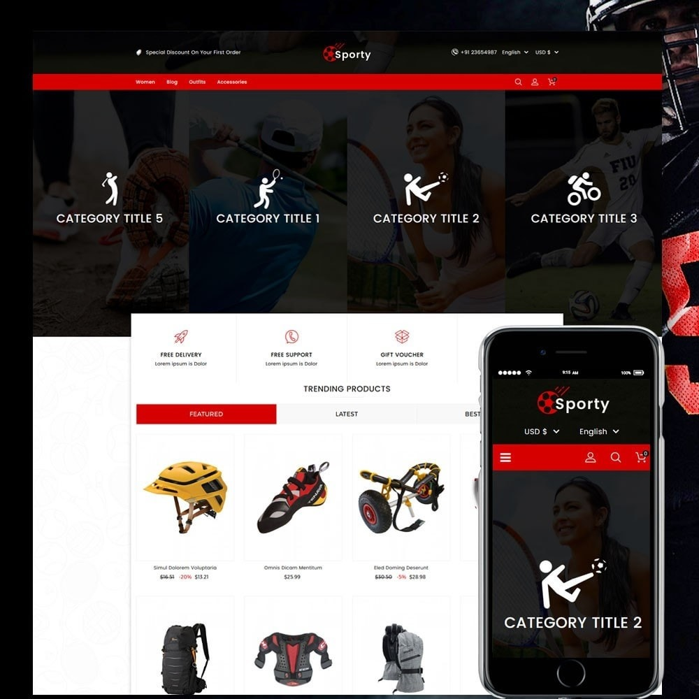 theme - Desporto, Actividades & Viagens - Sporty Game and Sports Store - 1