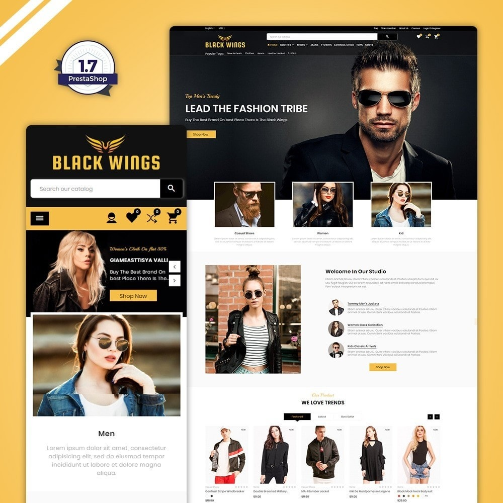 theme - Мода и обувь - Black Wings – Fashion Mega Purpose  Store - 1