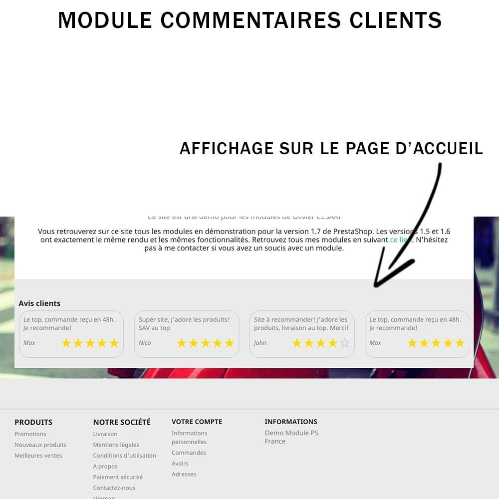 module - Avis clients - Commentaires clients + Note + Avis Rich Snippets - 2