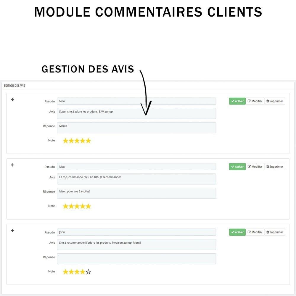 module - Avis clients - Commentaires clients + Note + Avis Rich Snippets - 5