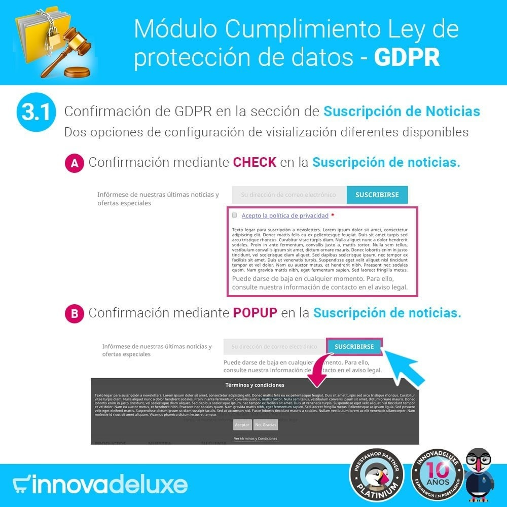 Cumplimiento Ley de protección de datos - RGPD - PrestaShop Addons