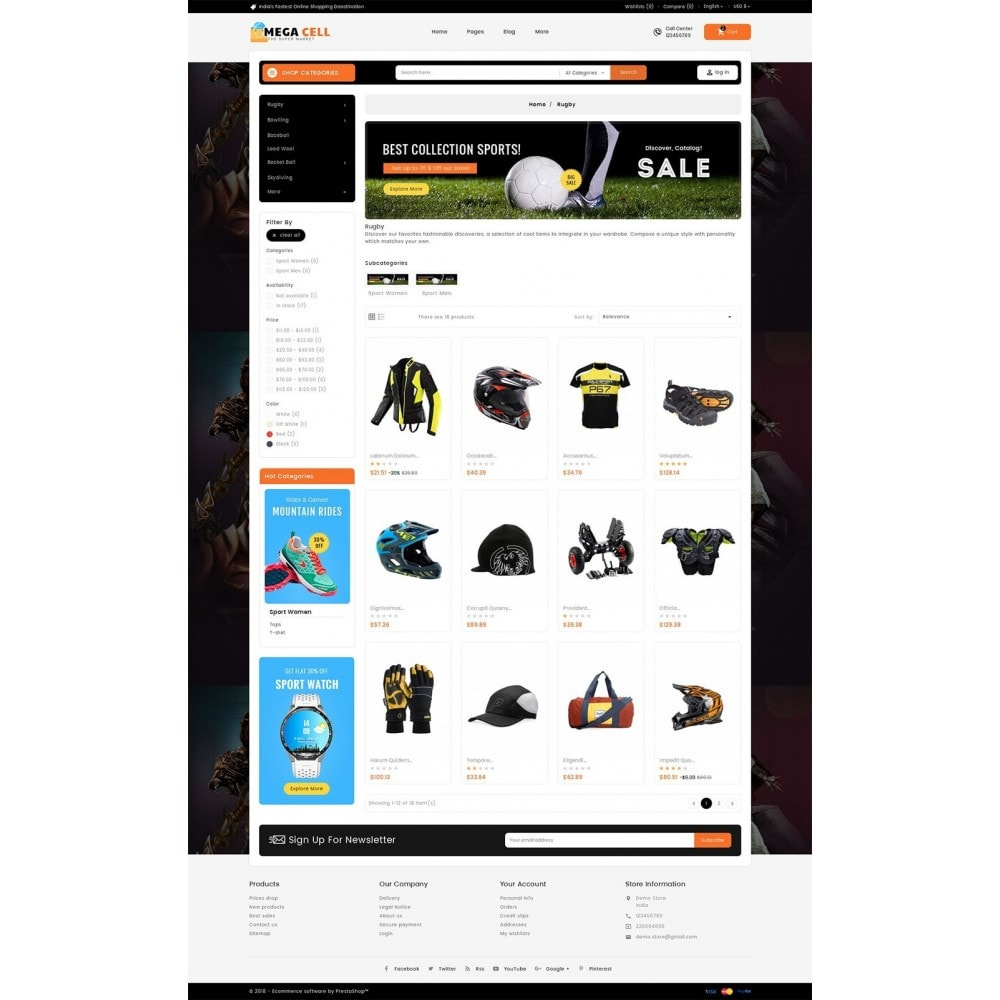 theme - Sport, Aktivitäten & Reise - Mega Cell Sports Equipment - 4