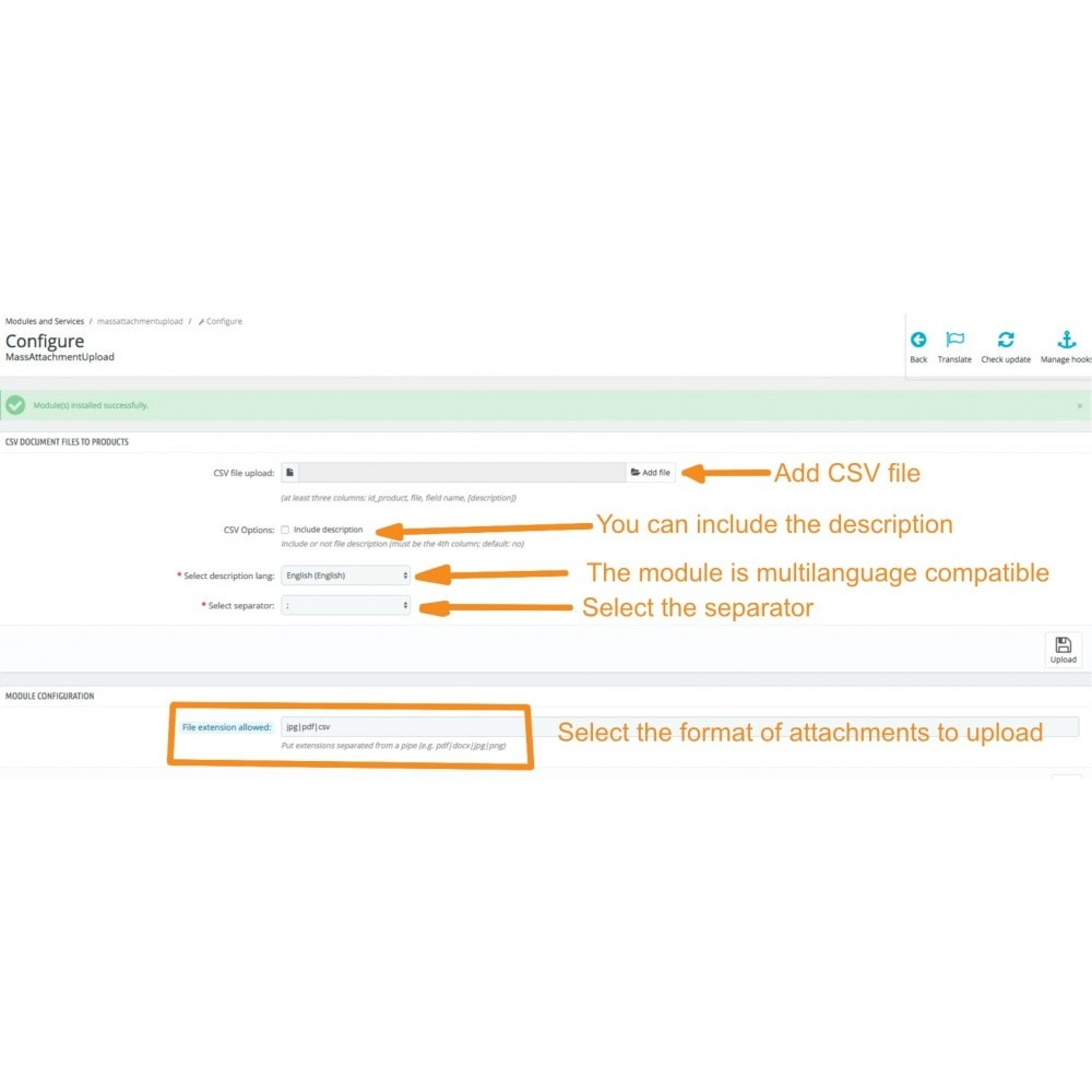 module - Importeren en Exporteren van data - Mass Attachments Upload - 4