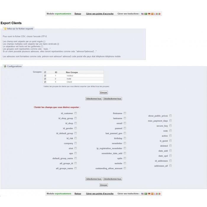 module - Importação & exportação de dados - Export Customers for Prestashop 1.5 - 3