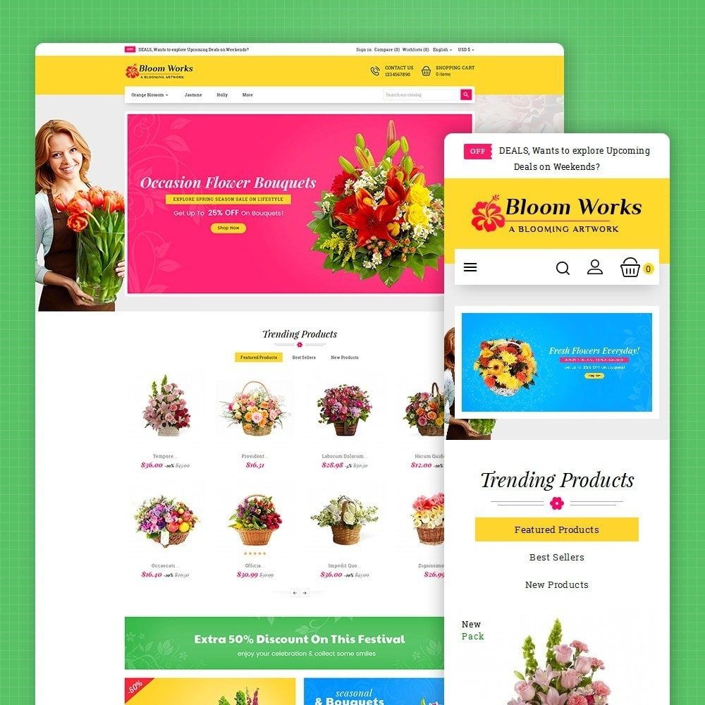 theme - Regalos, Flores y Celebraciones - Flower Bloom Works - 2