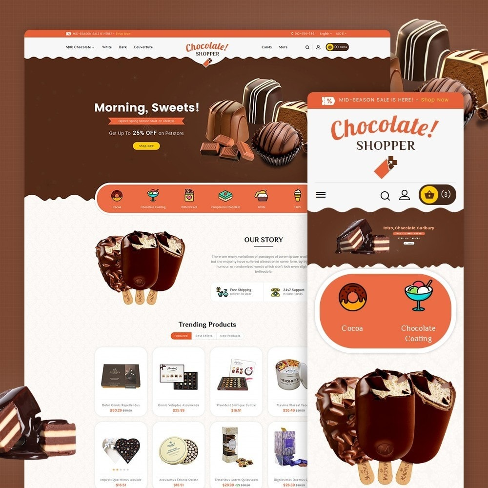 theme - Cadeaux, Fleurs et Fêtes - Chocolate Cream - 2