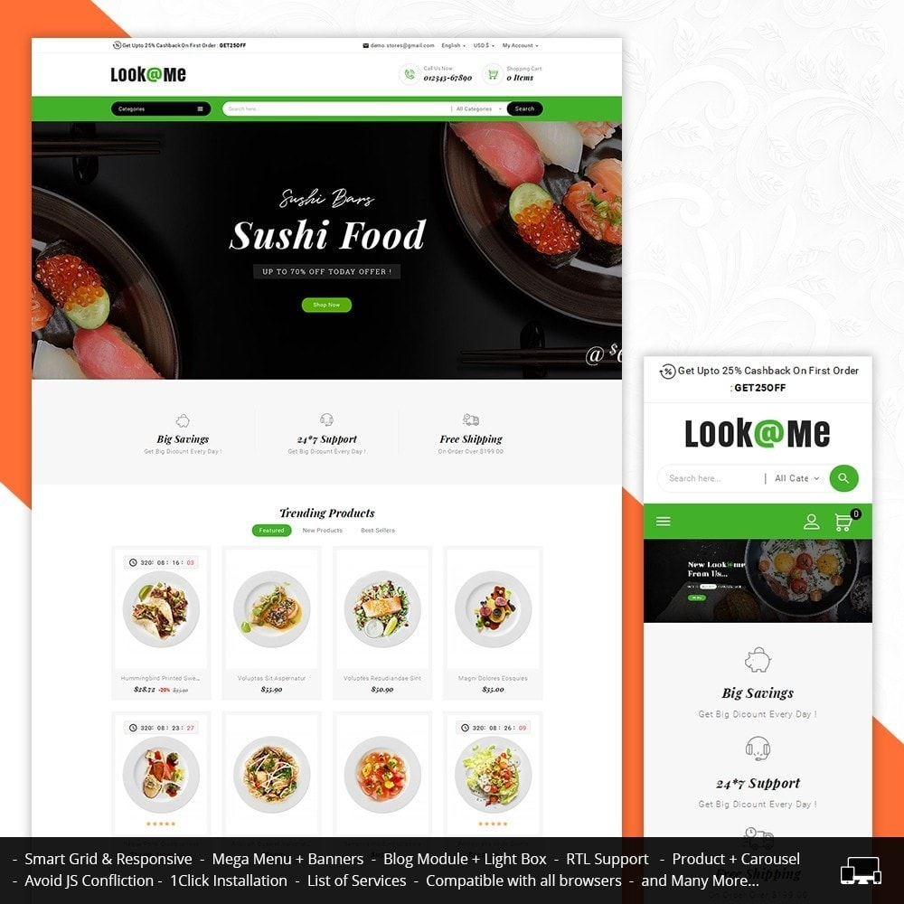 theme - Alimentation & Restauration - Look me Restaurant Food - 1