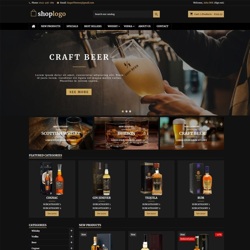 theme - Drink & Wine - AT18 Black - Drink, alcohol, liquor, whisky, beer store - 1